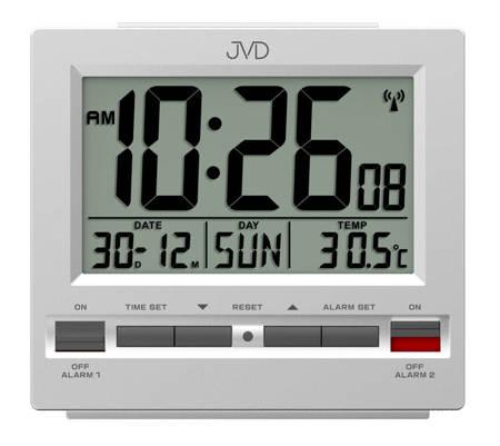 Budzik JVD RB9371.1 Termometr, dwa alarmy, DCF77