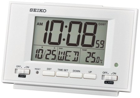 Budzik SEIKO QHL075W Termometr Sensor Light