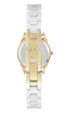 Klasyczny zegarek Anne Klein AK/3164WTGB Gold and White