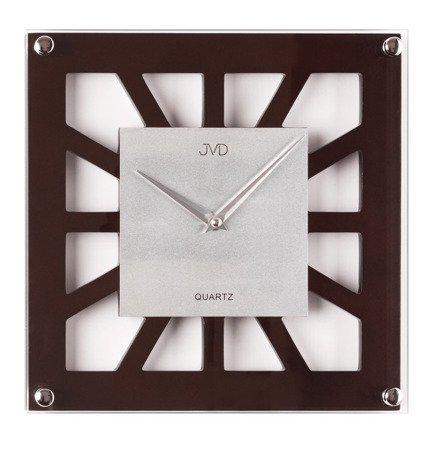 Kwadratowy zegar ścienny JVD N127.23 Szkło Drewno